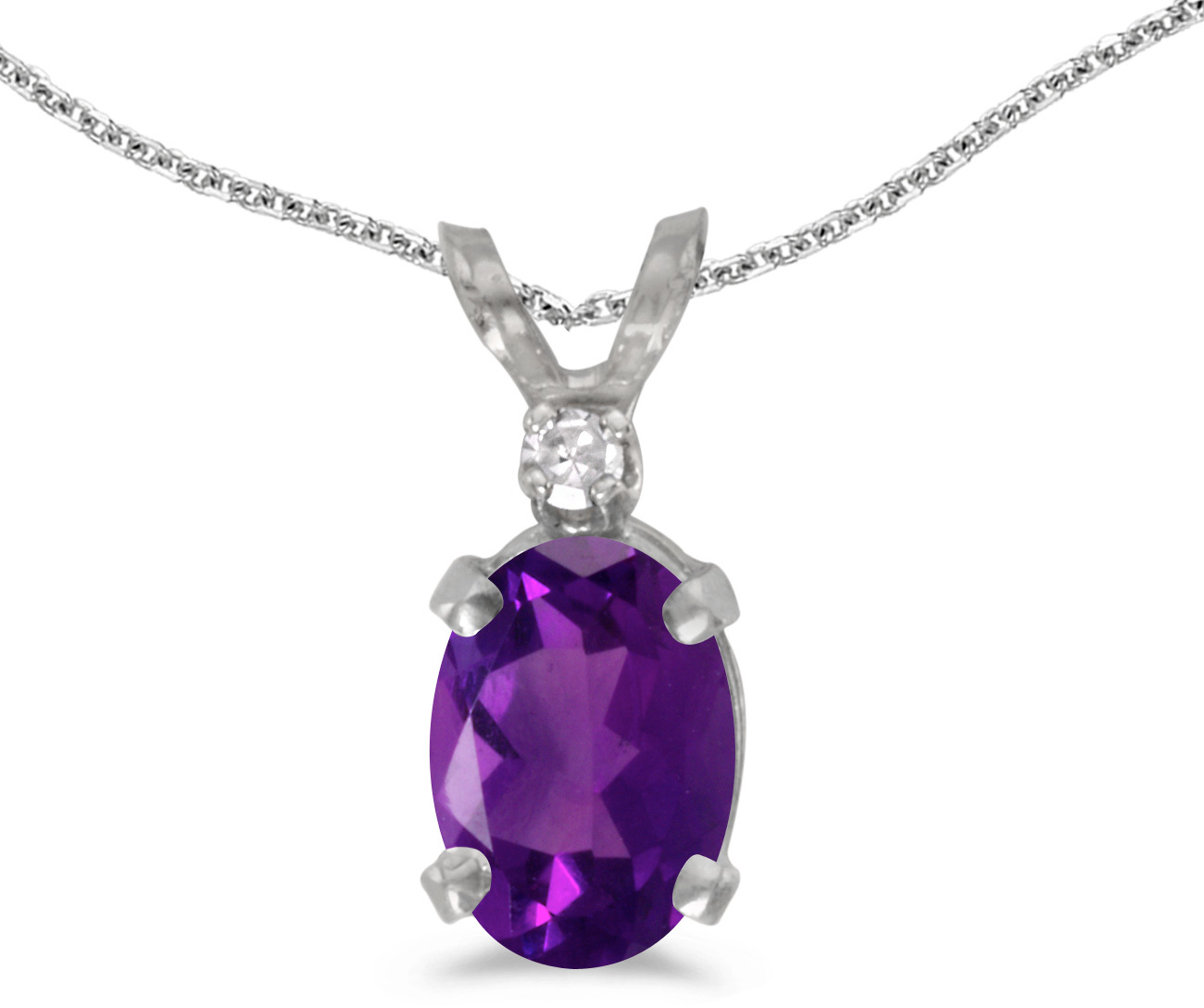 14k White Gold Oval Amethyst And Diamond Pendant (Chain NOT included) (CM-P6411XW-02)