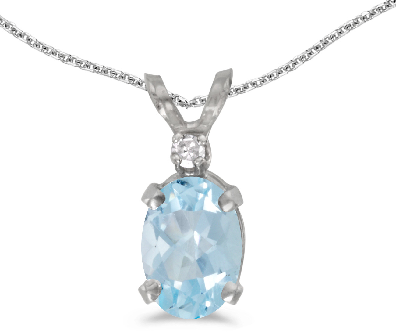 14k White Gold Oval Aquamarine And Diamond Pendant (Chain NOT included) (CM-P6411XW-03)