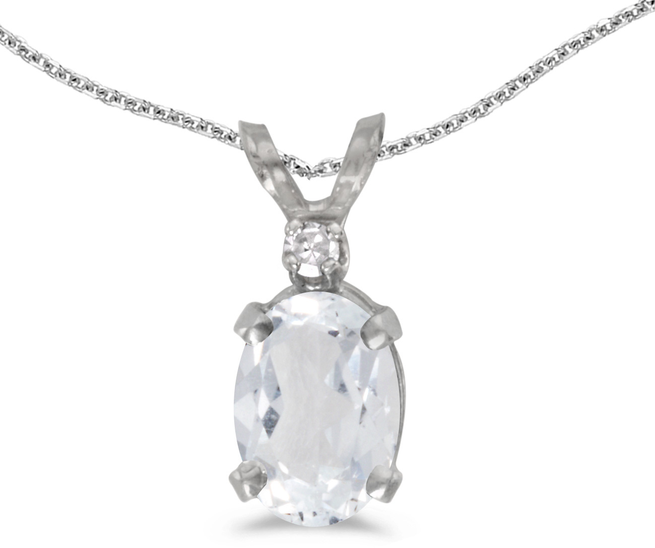 14k White Gold Oval White Topaz And Diamond Pendant (Chain NOT included) (CM-P6411XW-04)