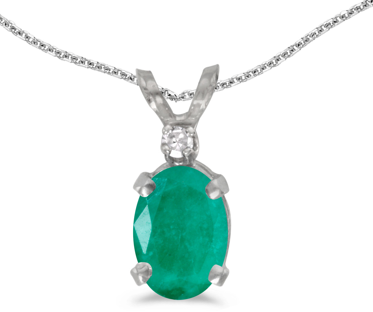 14k White Gold Oval Emerald And Diamond Pendant (Chain NOT included) (CM-P6411XW-05)