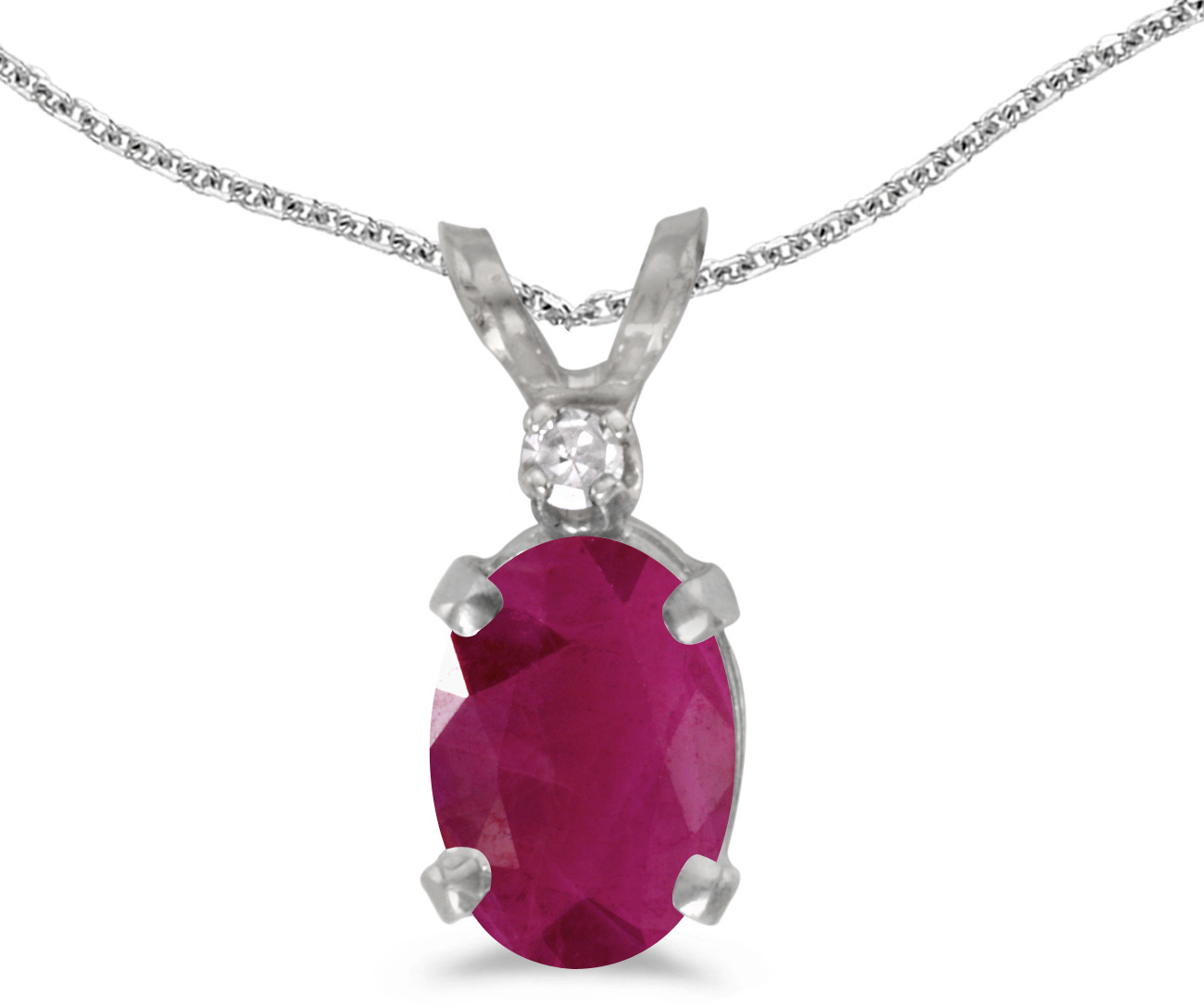 14k White Gold Oval Ruby And Diamond Pendant (Chain NOT included) (CM-P6411XW-07)