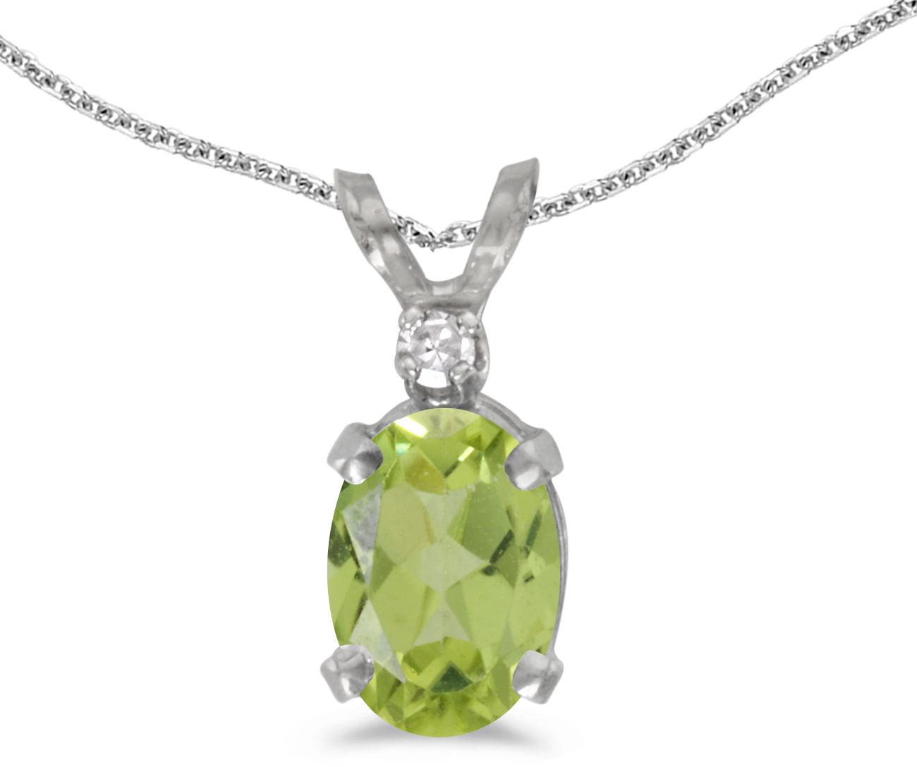 14k White Gold Oval Peridot And Diamond Pendant (Chain NOT included) (CM-P6411XW-08)