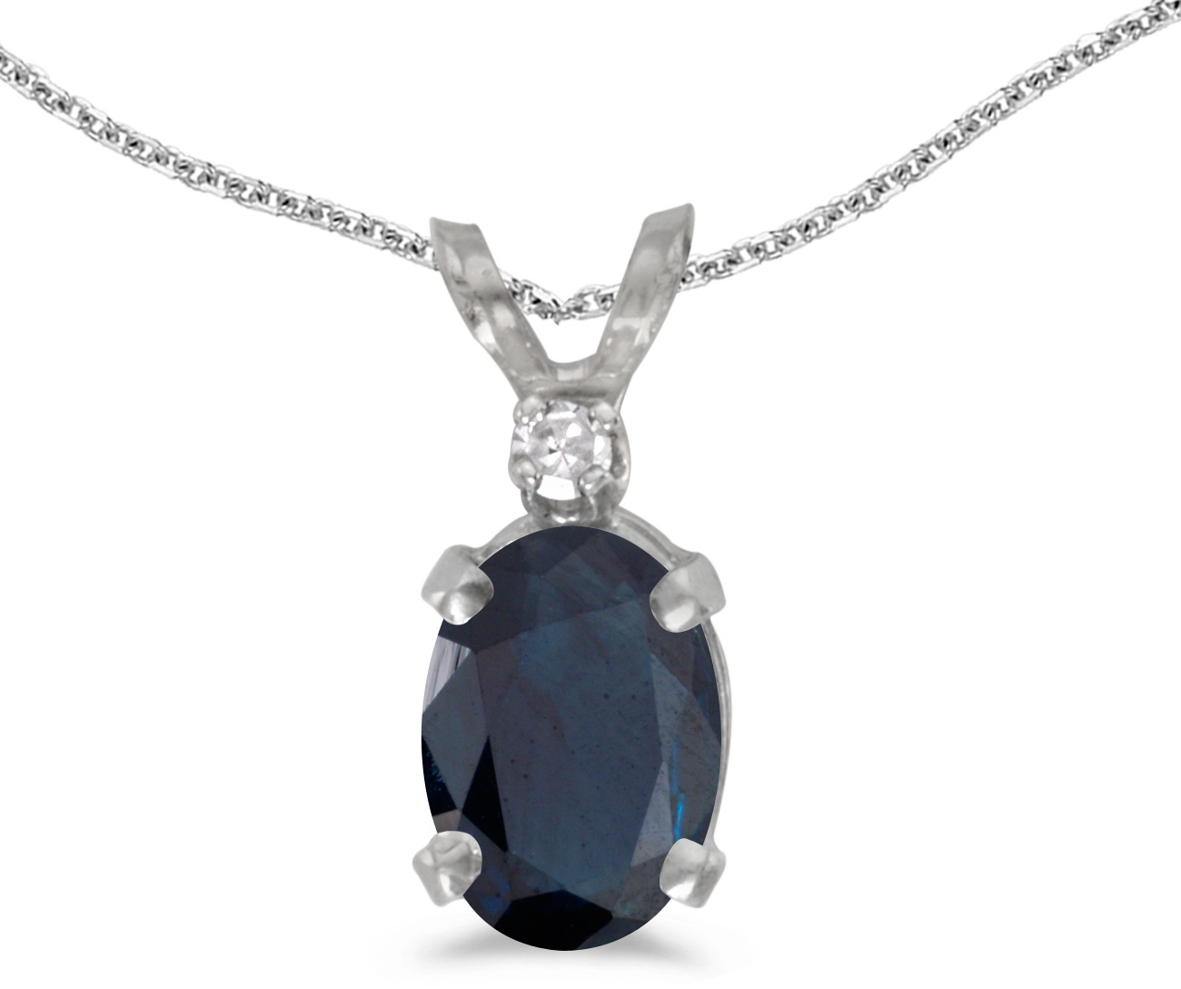 14k White Gold Oval Sapphire And Diamond Pendant (Chain NOT included) (CM-P6411XW-09)