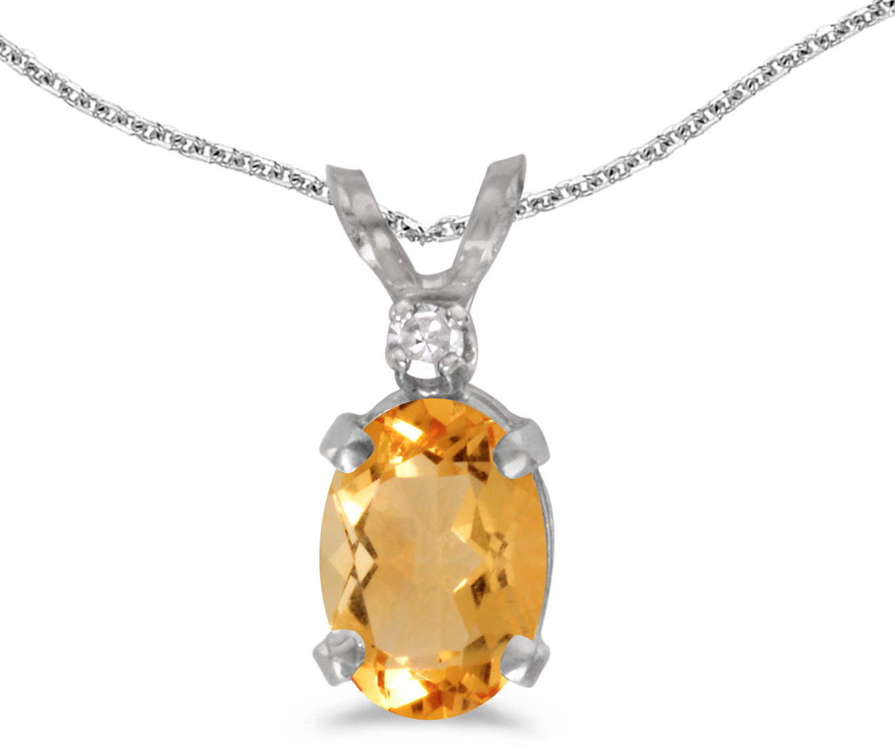 14k White Gold Oval Citrine And Diamond Pendant (Chain NOT included) (CM-P6411XW-11)