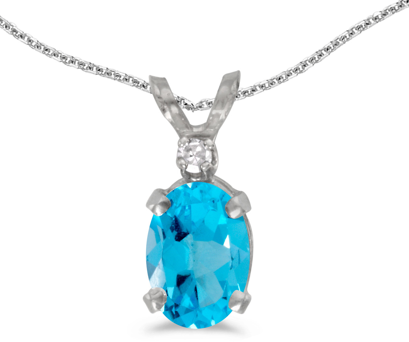 14k White Gold Oval Blue Topaz And Diamond Pendant (Chain NOT included) (CM-P6411XW-12)
