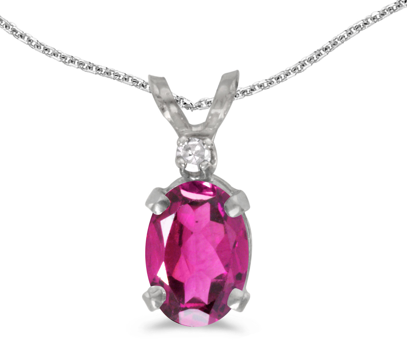 14k White Gold Oval Pink Topaz And Diamond Pendant (Chain NOT included) (CM-P6411XW-PT)