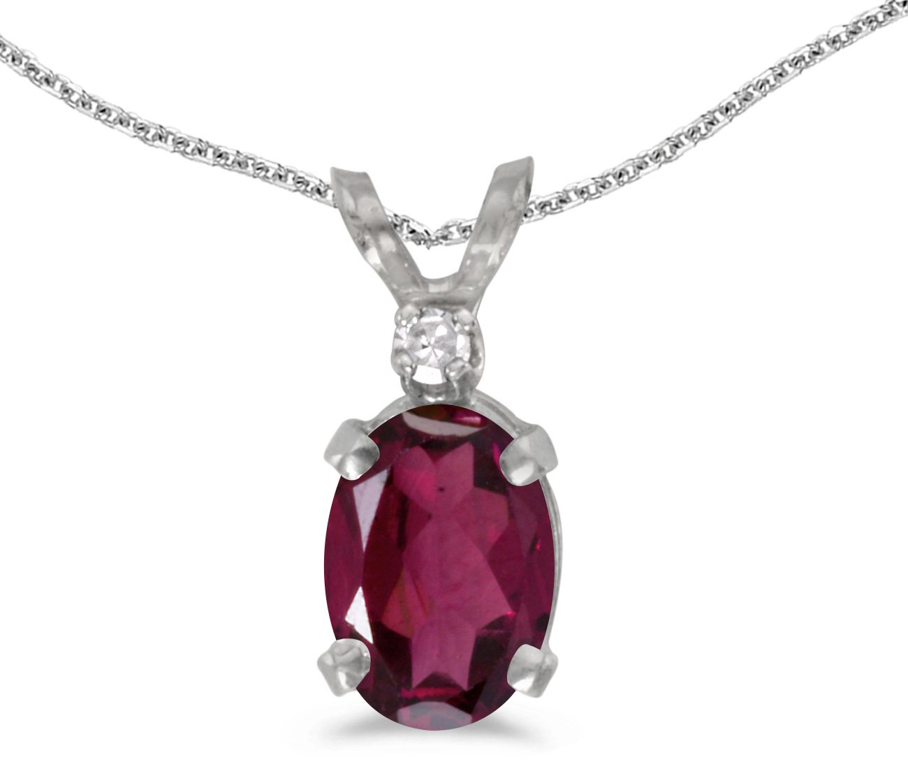14k White Gold Oval Rhodolite Garnet And Diamond Pendant (Chain NOT included) (CM-P6411XW-RG)