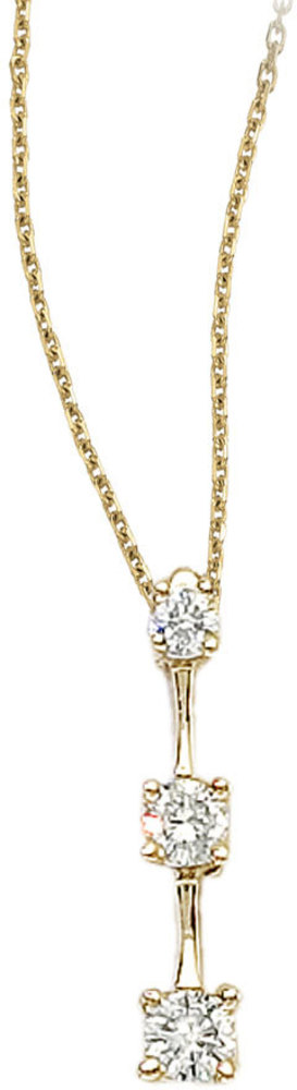 14k Yellow Gold 0.25 Ct Three Stone Diamond Pendant (Chain NOT included) (CM-P7073)