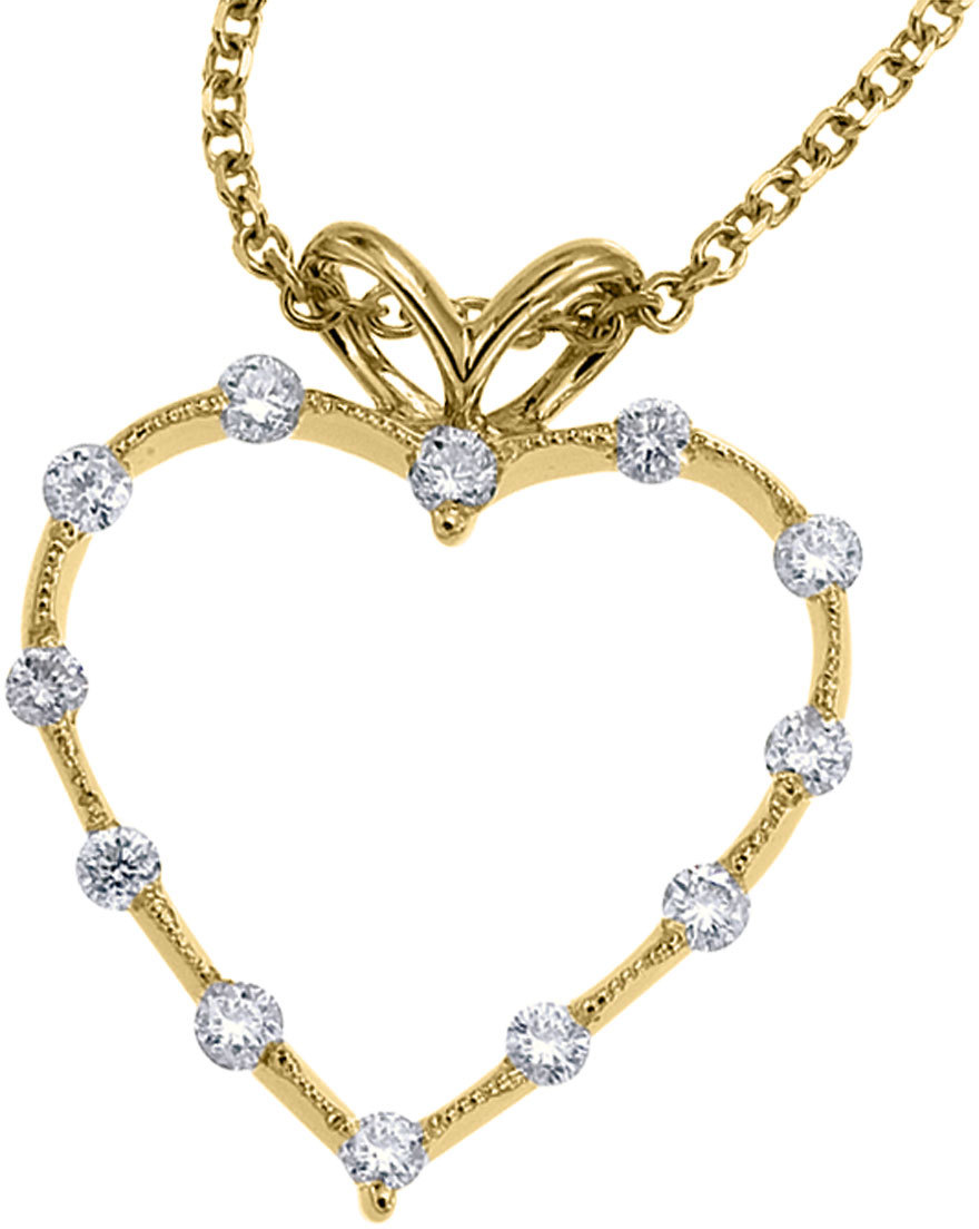14K Yellow Gold Diamond Heart Pendant (Chain NOT included) (CM-P7186)