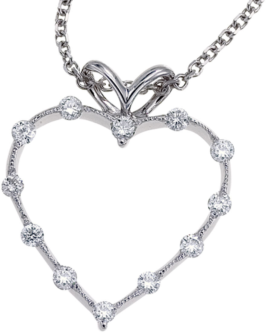 14K White Gold Diamond Heart Pendant (Chain NOT included) (CM-P7186W)