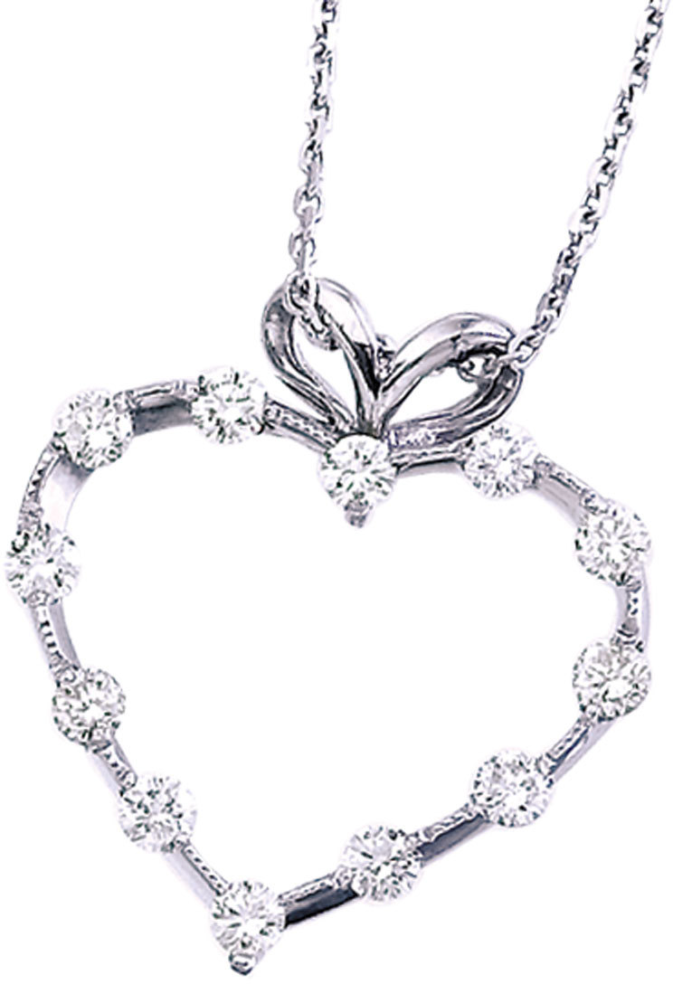 14K White Gold Diamond Heart Pendant (Chain NOT included) (CM-P7187W)