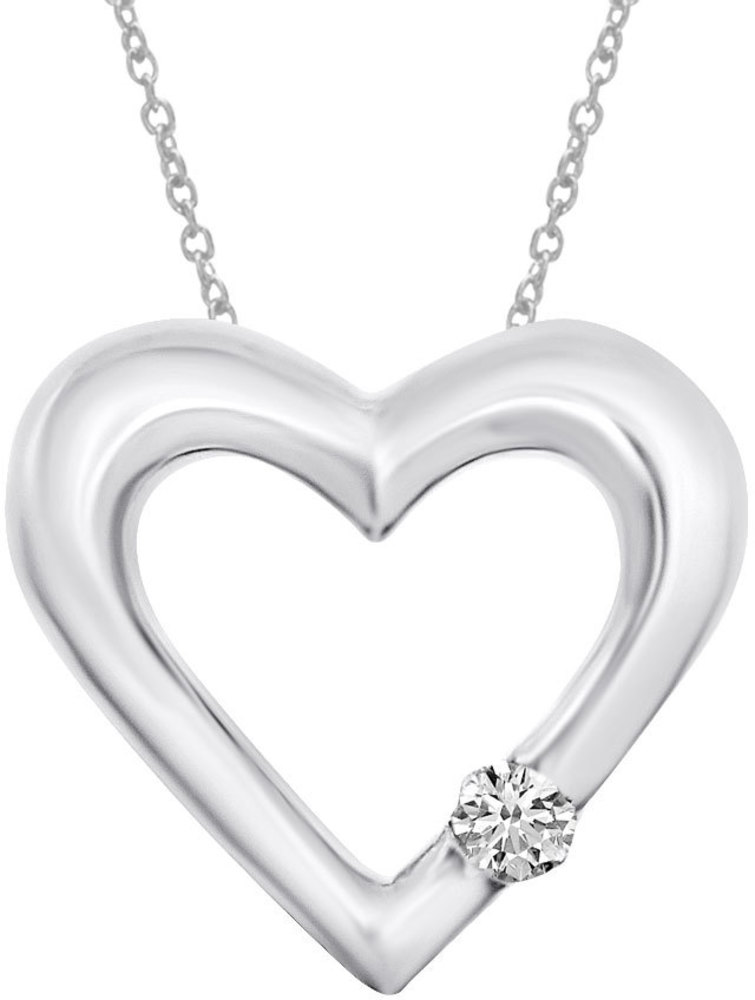 14K White Gold Diamond Heart Pendant (Chain NOT included) (CM-P7283W)