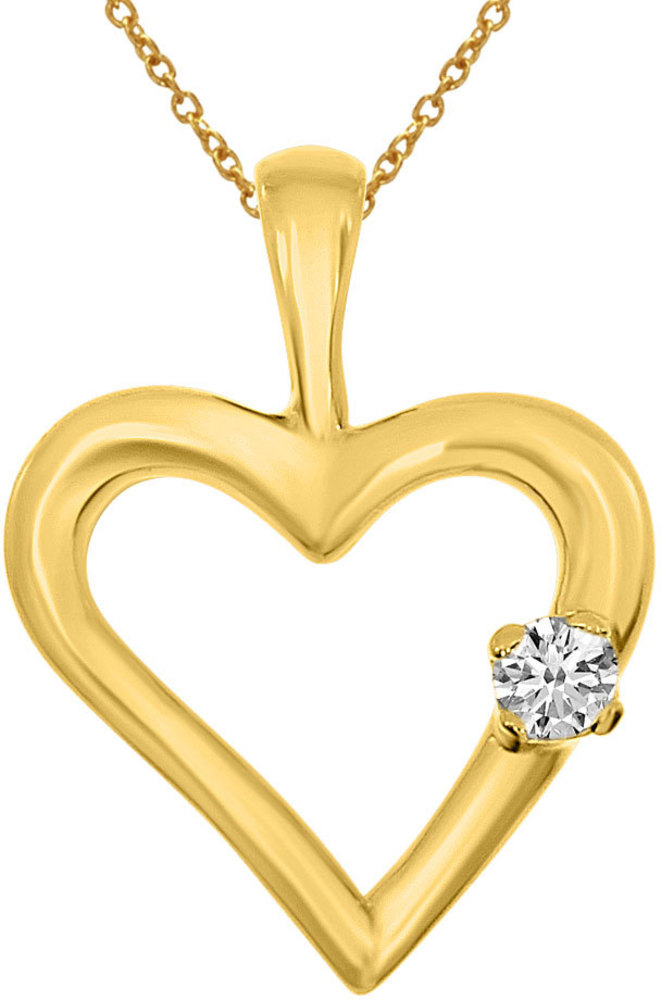 14K Yellow Gold Diamond Heart Pendant (Chain NOT included) (CM-P7284)