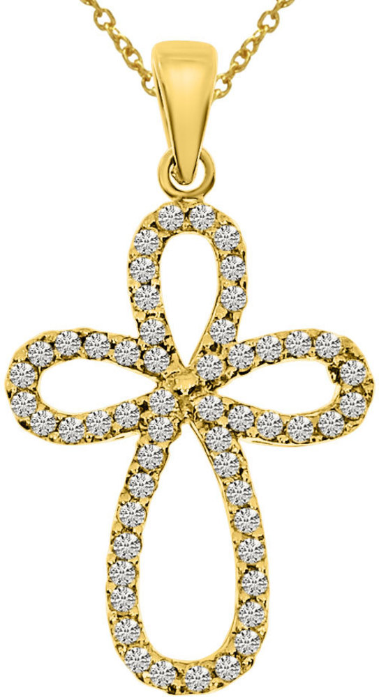 14K Yellow Gold .25 ctw Diamond Cross Pendant (Chain NOT included)