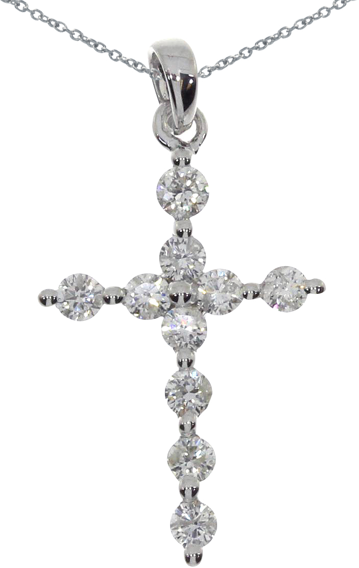 14K White Gold Diamond Cross Pendant (Chain NOT included) (CM-P7632W)