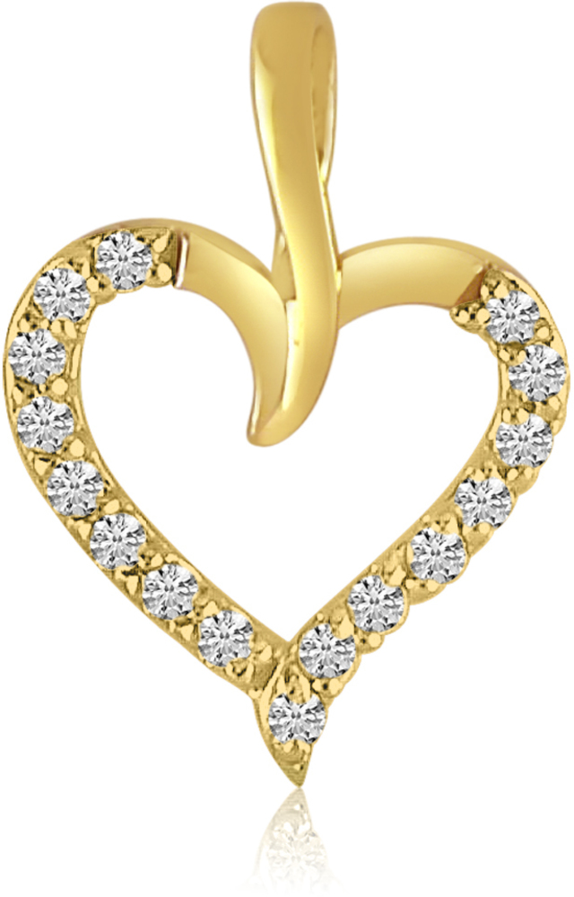 14K Yellow Gold Diamond Heart Pendant (Chain NOT included) (CM-P7734)