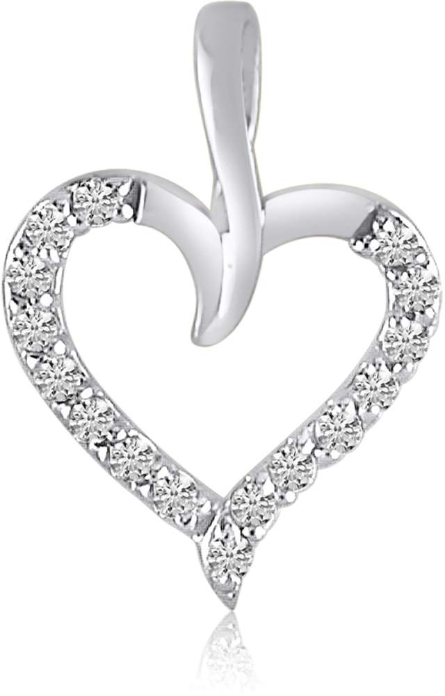 14K White Gold Diamond Heart Pendant (Chain NOT included) (CM-P7734W)