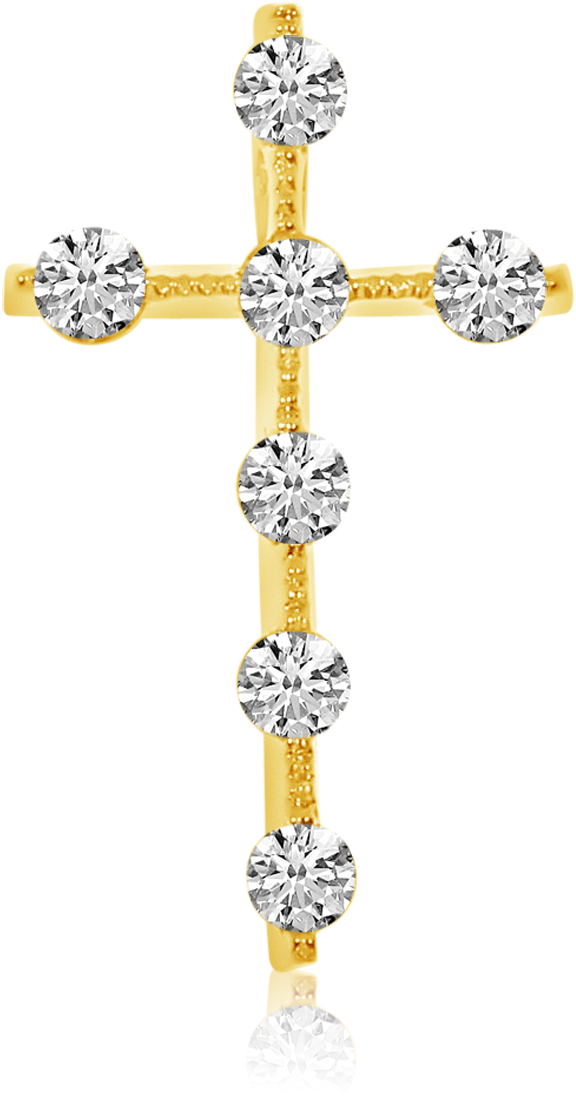 14K Yellow Gold Diamond Cross Pendant (Chain NOT included) (CM-P7972)