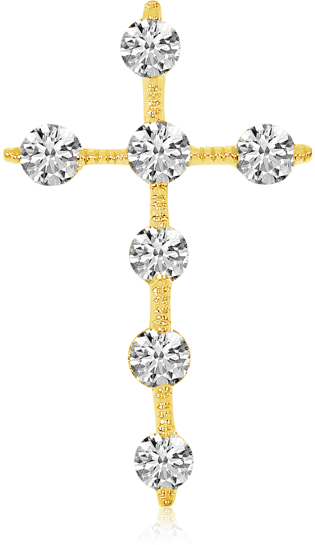 14K Yellow Gold Diamond Cross Pendant (Chain NOT included) (CM-P7973)