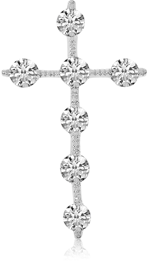 14K White Gold Diamond Cross Pendant (Chain NOT included) (CM-P7973W)