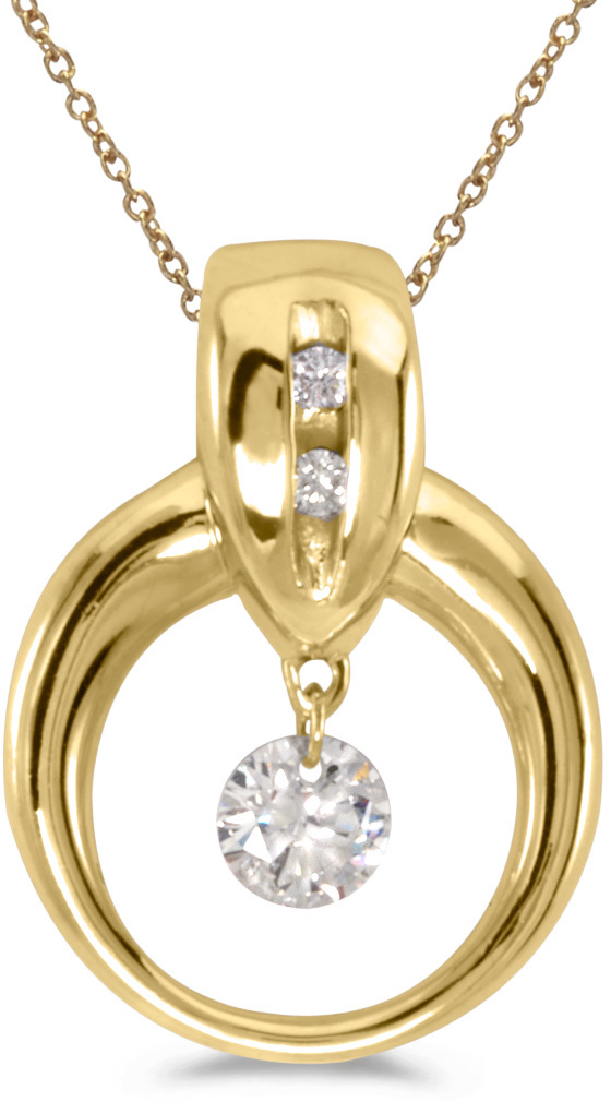 14K Yellow Gold Diamond Dashing Diamonds Pendant (Chain NOT included) (CM-P8336)