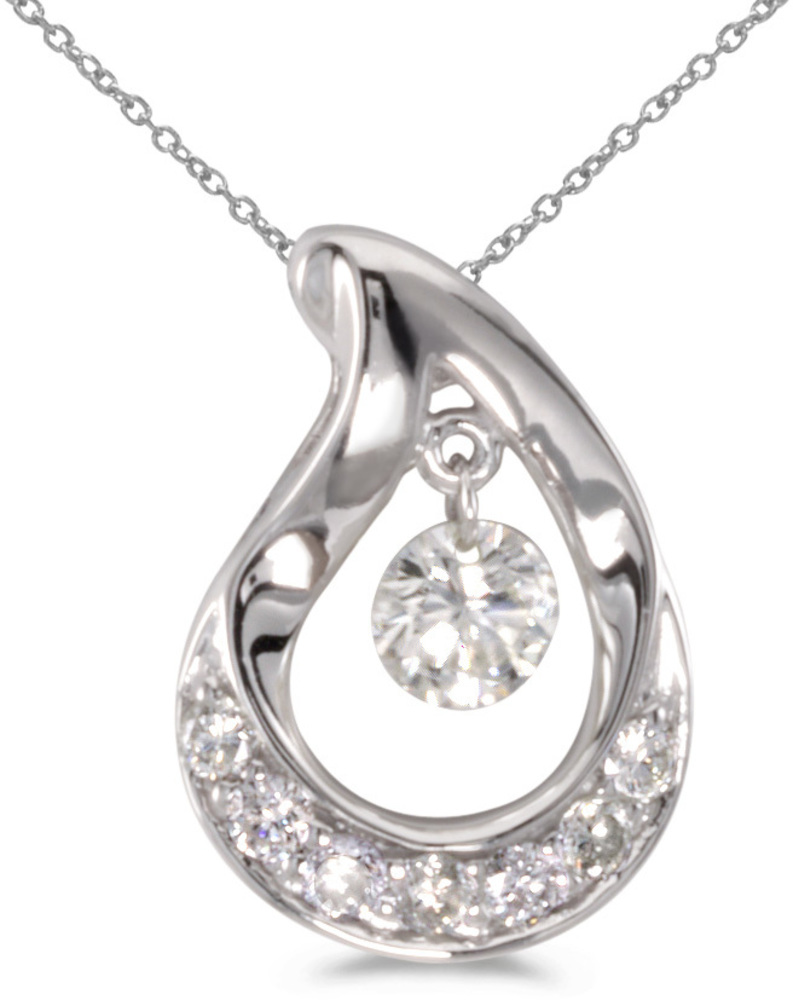 14K White Gold Diamond Dashing Diamonds Pendant (Chain NOT included) (CM-P8382W)