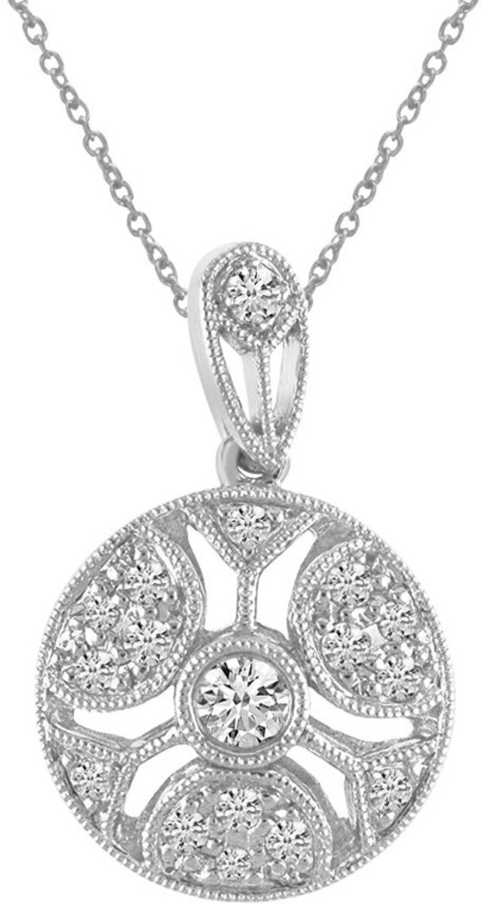 14K White Gold Round Antique Diamond Pendant (Chain NOT included) (CM-P8416W)