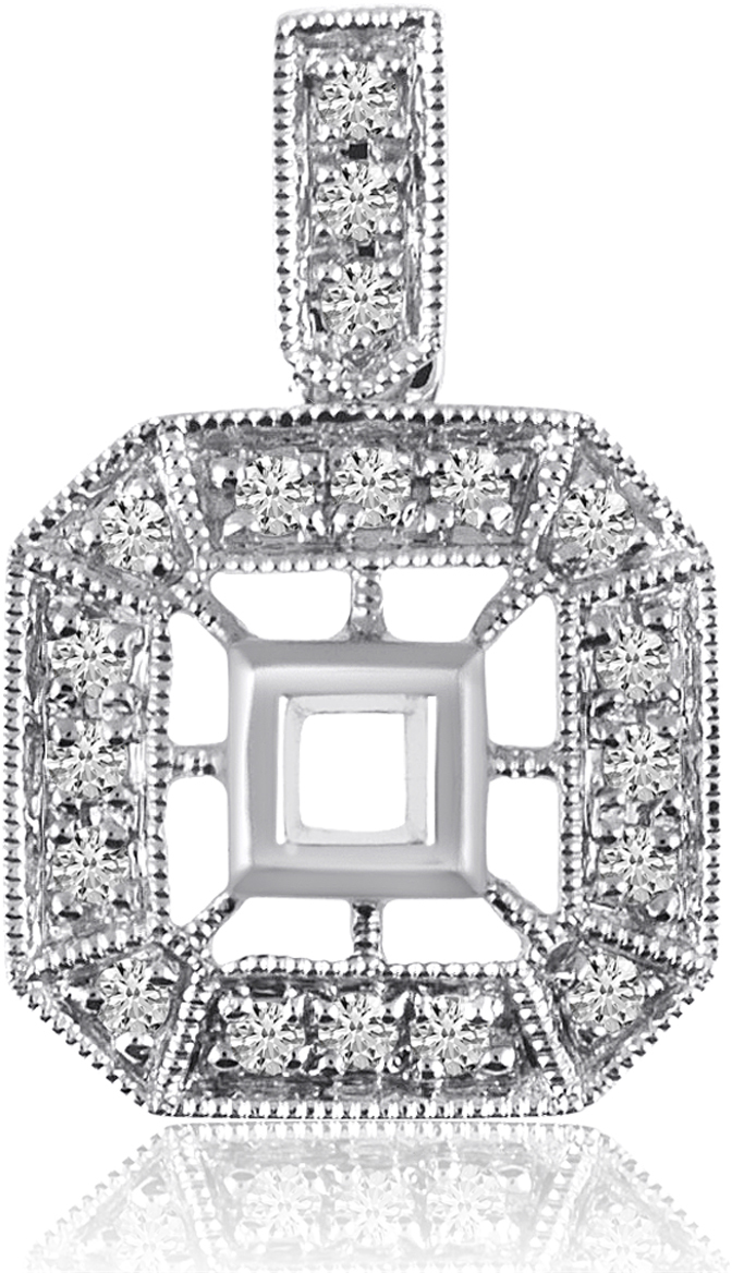 14K White Gold Antique Style Diamond Pendant (Chain NOT included) (CM-P8417W)