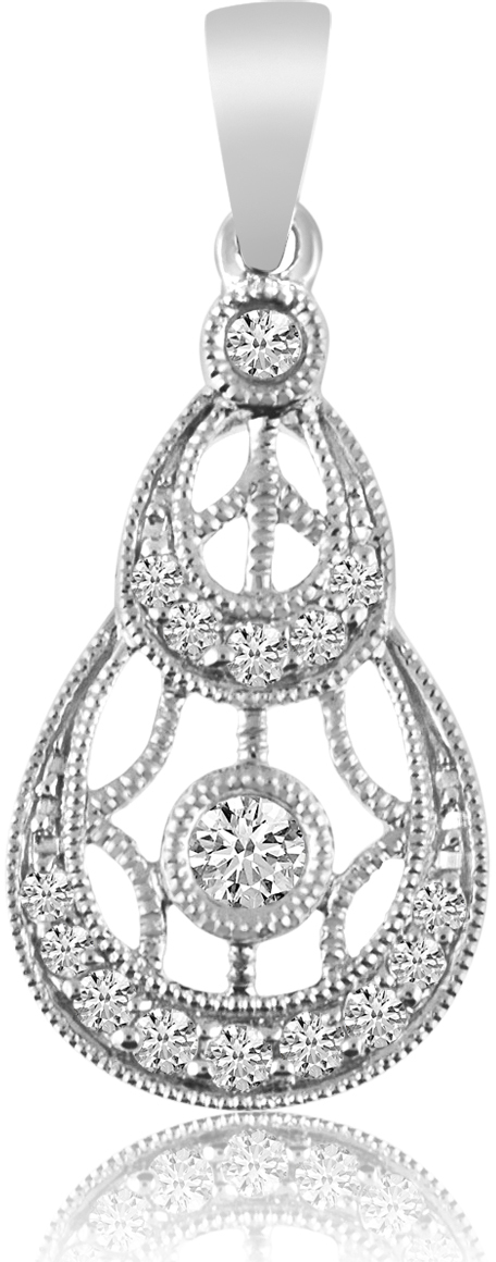 14K White Gold Double Round Antique Diamond Pendant (Chain NOT included)