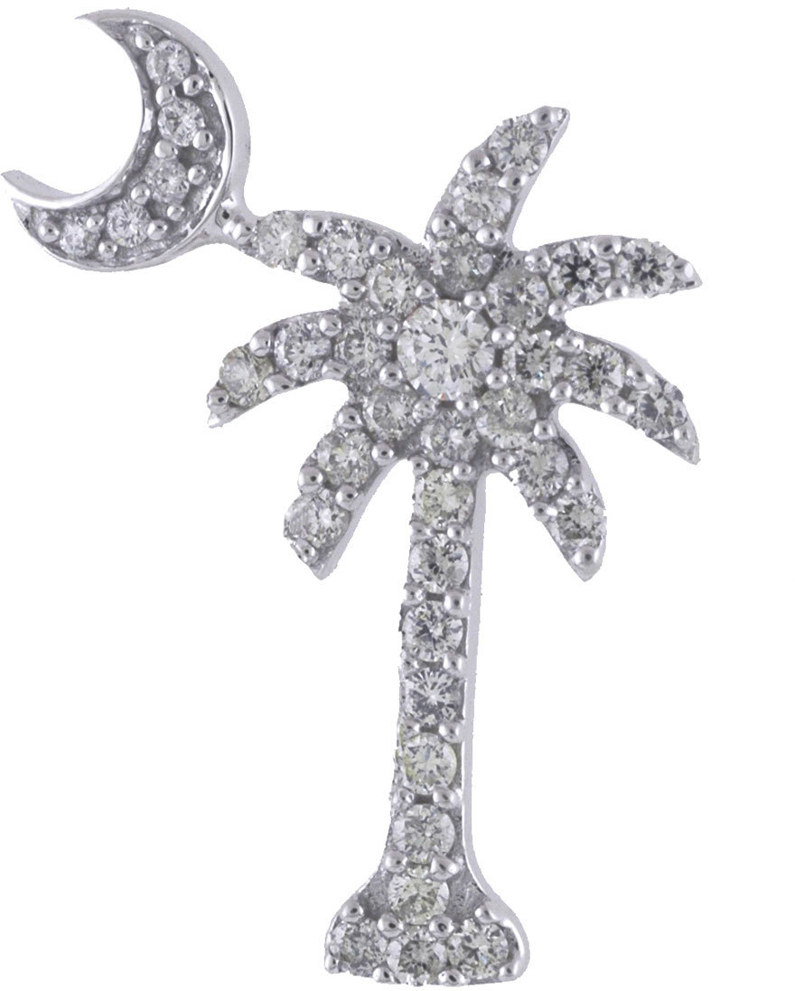 14K White Gold .50 ctw Diamond Palm Tree Crescent Moon Pendant (Chain NOT included)