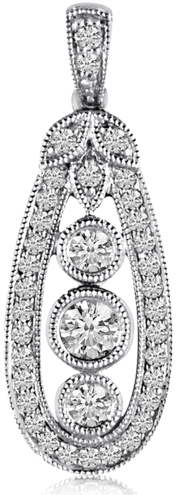 14K White Gold Long Antique Style Diamond Fashion Pendant (Chain NOT included)