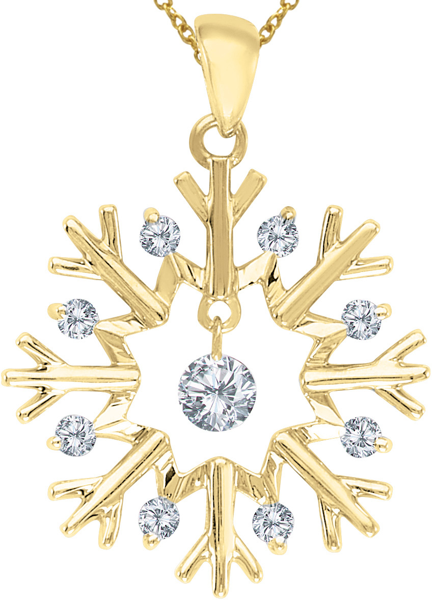 14K Yellow Gold Diamond Dashing Diamonds Pendant (Chain NOT included) (CM-P8518)