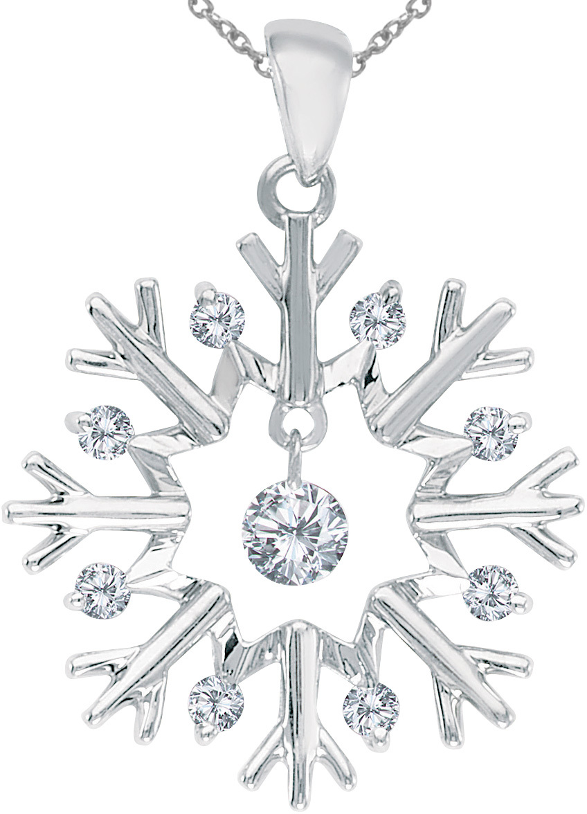 14K White Gold Diamond Dashing Diamonds Snowflake Pendant (Chain NOT included) (CM-P8518W)