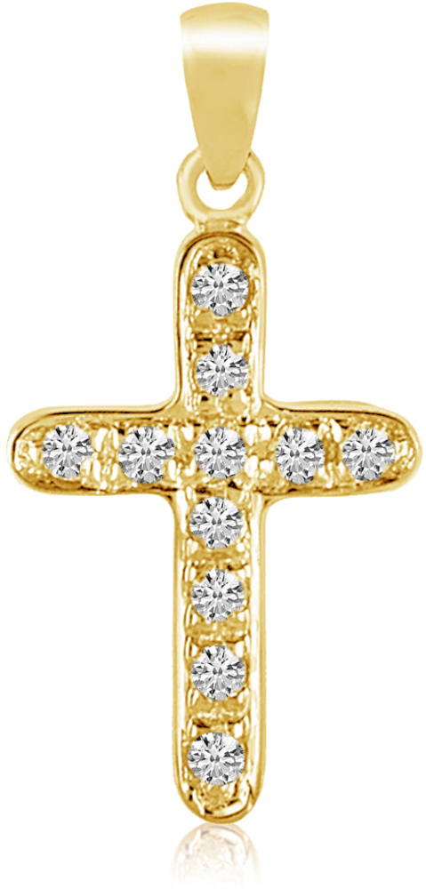 14K Yellow Gold Diamond Cross Pendant (Chain NOT included) (CM-P8576)