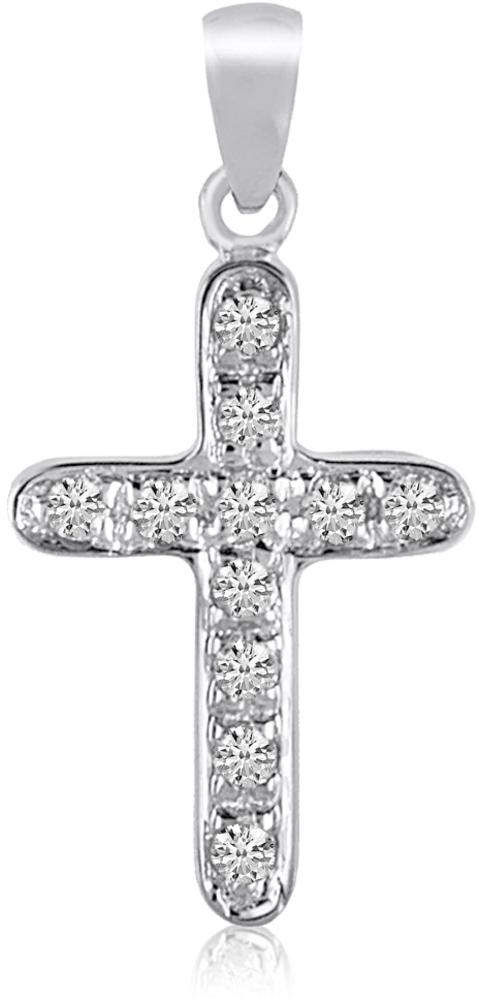 14K White Gold Diamond Cross Pendant (Chain NOT included) (CM-P8576W)