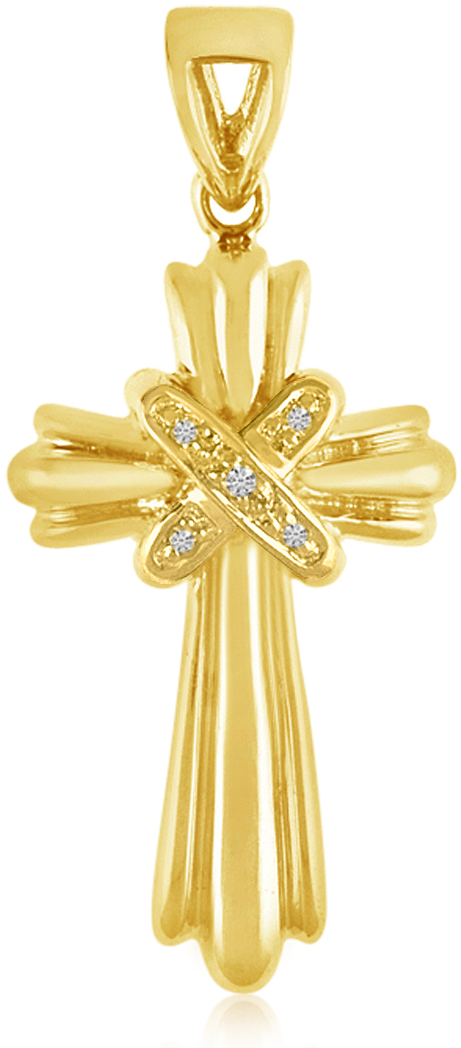 14K Yellow Gold Diamond Cross Pendant (Chain NOT included) (CM-P8581)