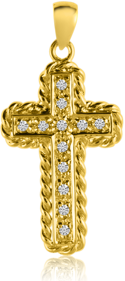 14K Yellow Gold Diamond Cross Pendant (Chain NOT included) (CM-P8585)