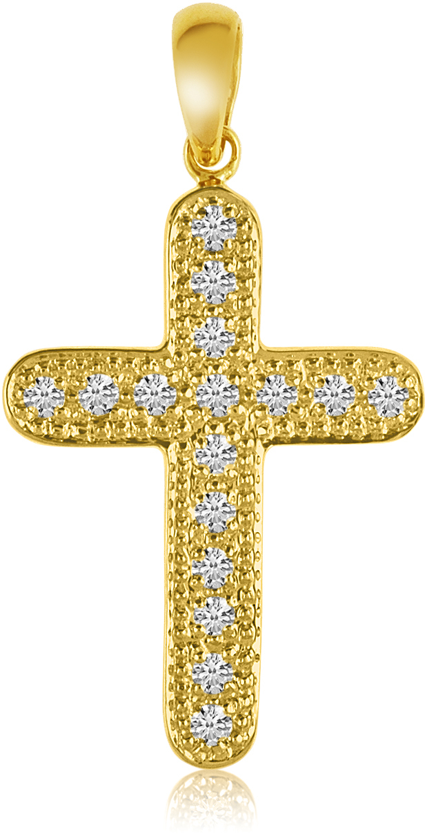 14K Yellow Gold Diamond Cross Pendant (Chain NOT included) (CM-P8586)