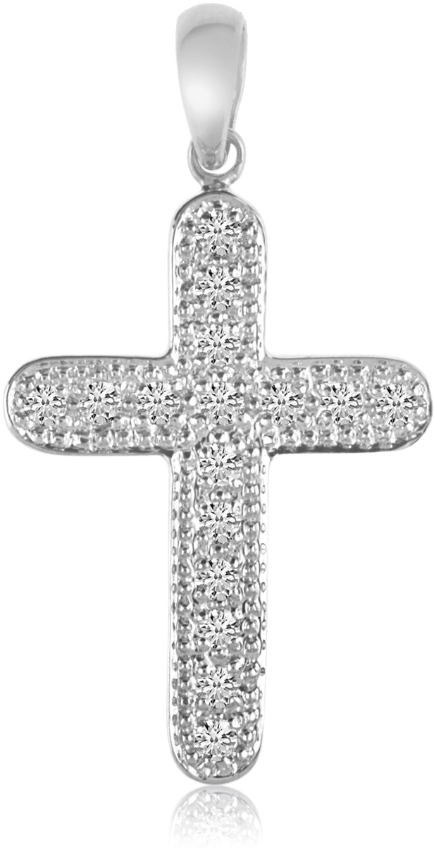 14K White Gold Diamond Cross Pendant (Chain NOT included) (CM-P8586W)