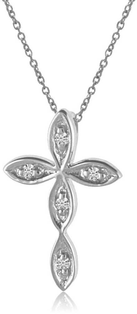 14K White Gold Diamond Cross Pendant (Chain NOT included) (CM-P8587W)