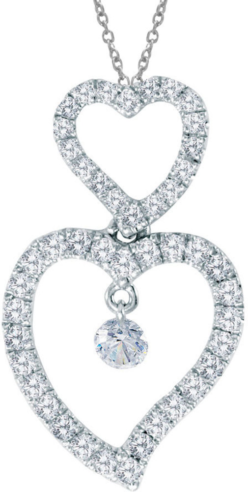 14K White Gold Diamond Dashing Diamonds Pendant (Chain NOT included) (CM-P8620W)