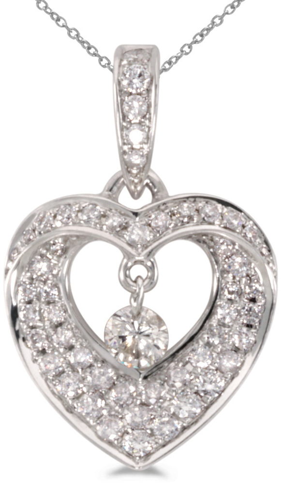 14K White Gold Diamond Dashing Diamonds Pendant (Chain NOT included) (CM-P8621W)