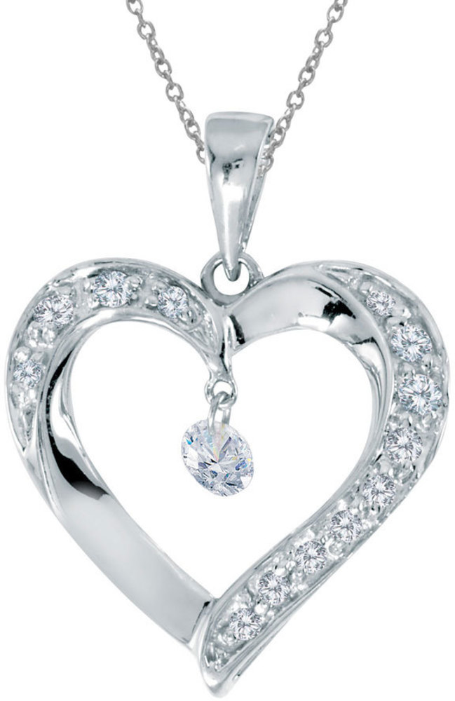 14K White Gold Diamond Dashing Diamonds Pendant (Chain NOT included) (CM-P8649W)