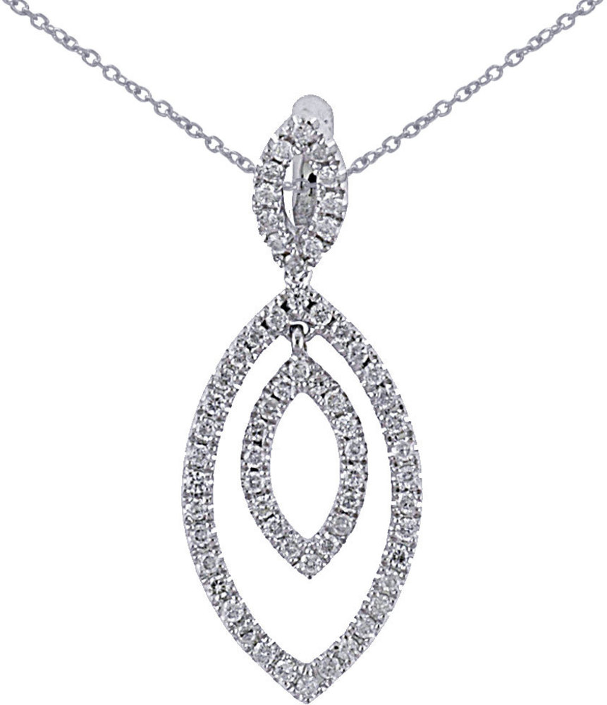 14K White Gold .37 ctw Diamond Marquise Shape Pendant (Chain NOT included)
