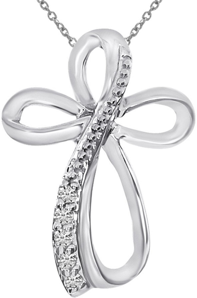 14K White Gold Diamond Cross Fashion Pendant (Chain NOT included)