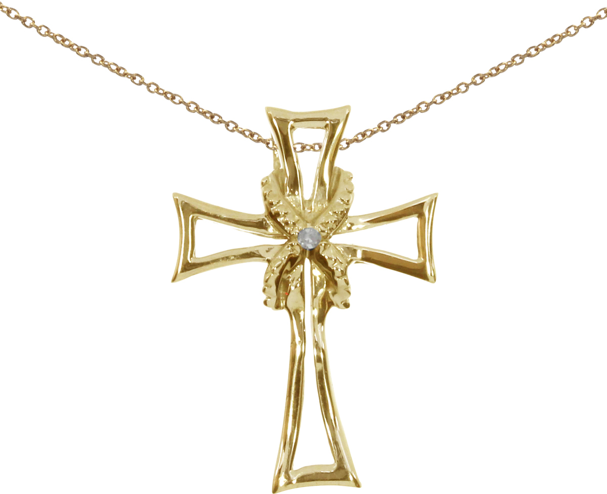 14K Yellow Gold Diamond Cross Pendant (Chain NOT included) (CM-P8722)