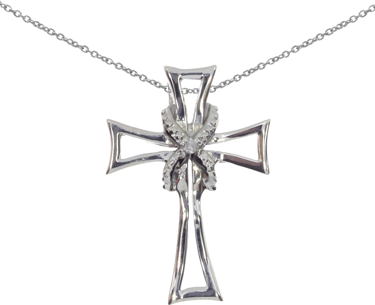 14K White Gold Diamond Cross Pendant (Chain NOT included) (CM-P8722W)