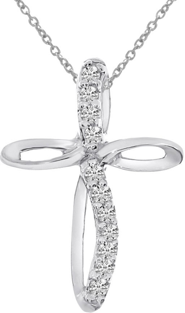 14K White Gold Diamond Cross Pendant (Chain NOT included) (CM-P8723W)