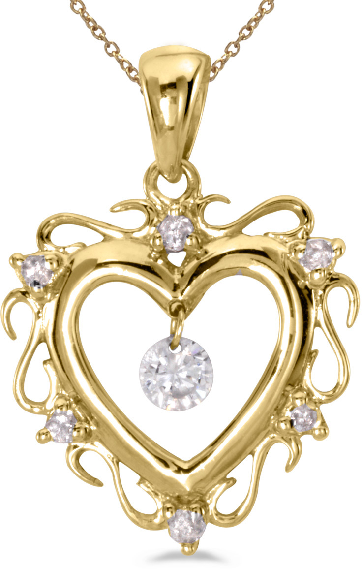 14K Yellow Gold Diamond Dashing Diamonds Pendant (Chain NOT included) (CM-P8796)