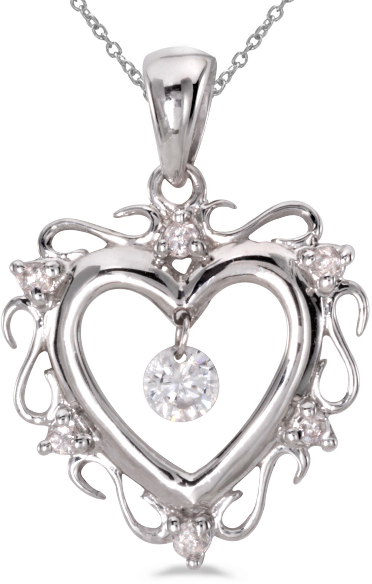 14K White Gold Diamond Dashing Diamonds Pendant (Chain NOT included) (CM-P8796W)